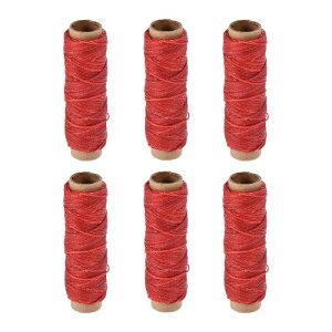 ソウテン レザー用手縫い糸 ポリエステルワックス糸コード 革用糸 フラットスレッド 30M 150D/1mm 手縫いDIY用 レッド 6個入り