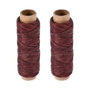 ソウテン 革用手縫い糸 ポリエステルワックス糸コード 革用糸 フラットスレッド 30M 150D/1mm 手縫いDIY用 ダークレッド 2個入り