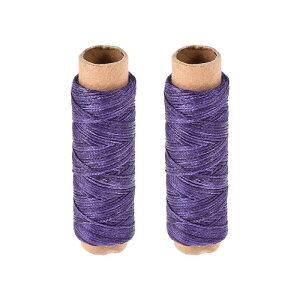 ソウテン 革用手縫い糸 ポリエステルワックス糸コード 革用糸 フラットスレッド 30M 150D/1mm 手縫いDIY用 パープル 2個入り