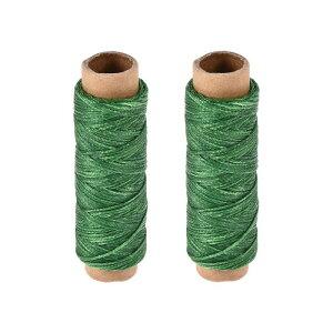 ソウテン 革用手縫い糸 ポリエステルワックス糸コード 革用糸 フラットスレッド 30M 150D/1mm 手縫いDIY用 芝生グリーン 2個入り