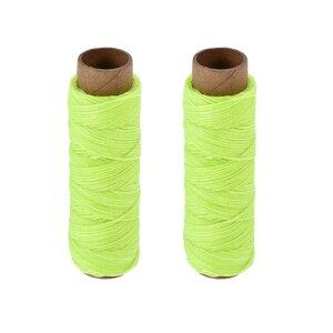 ソウテン 革用手縫い糸 ポリエステルワックス糸コード 革用糸 フラットスレッド 30M 150D/1mm 手縫いDIY用 明るいグリーン 2個入り