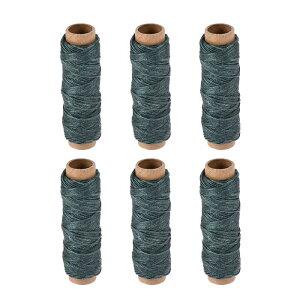 ソウテン 革用手縫い糸 レザー用手縫い糸 ポリエステルワックス糸コード フラットスレッド 30M 150D/1mm 手縫いDIY用 アーミグリーン 6個入り