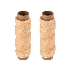 ソウテン 革用手縫い糸 レザー用手縫い糸 ポリエステルワックス糸コード フラットスレッド 30M 150D/1mm 手縫いDIY用 ライトブラウン 2個入り