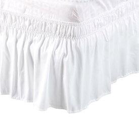 ソウテン uxcell プリーツベッドスカート ベッドスカート ラップランドダストフリル ポリエステル 38cmのドロップ フルサイズ ホワイト