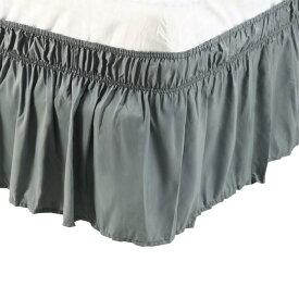 ソウテン uxcell プリーツベッドスカート ベッドスカート ラップランドダストフリル ポリエステル 38cmのドロップ ツインサイズ グレー