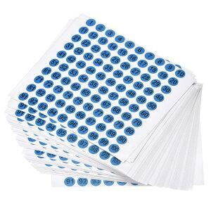 ソウテン ナンバーステッカー 番号シール 数字ラベル 10 mm直径 ナンバー1-100 コート紙ラベル 50シート ブラック数字/ブルー背景