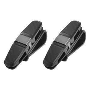 ソウテン X AUTOHAUX メガネホルダークリップ 車用サンバイザーサングラス眼鏡マウント チケットカードクリップ付き 2個 ブラック グレー