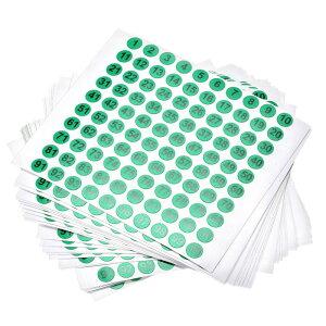 ソウテン ナンバーステッカー ナンバーシール 数字ラベル 10 mm直径 ナンバー1-100 コート紙ラベル 30シート ブラック数字/グリーン背景