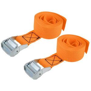 ソウテン ラッシングストラップ 荷物固定ロープ 荷締めベルト 荷締バンド 落下防止 貨物輸送 オレンジ 2M長さ 38mm幅 荷重500kg 貨物タイダウンストラップ 2個入り