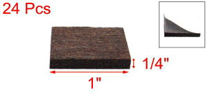 uxcellフェルトパッド家具フェルトパッド正方形傷防止家具キャビネット用ブラウン25x25x5mm24個入り