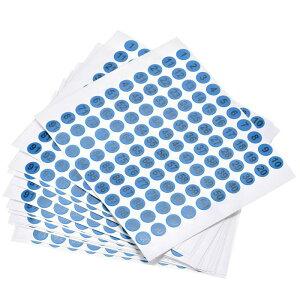 ソウテン ナンバーステッカー ナンバーシール 数字ラベル 10 mm直径 ナンバー1-100 コート紙ラベル 15シート ブラック数字/ブルー背景
