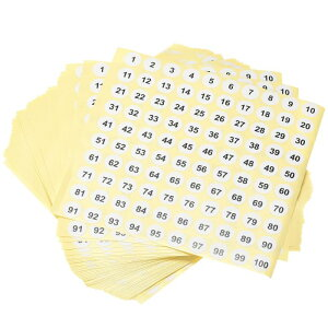 ソウテン 数字ステッカー ナンバーシール 番号ラベル 13 mm直径 ナンバー1-100 コート紙ラベル 50シート ブラック数字/ホワイト背景