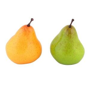 ソウテン uxcell 置物 人工果物 家庭用品 テーブル 装飾 フォーム シミュレーション 梨 イエロー グリーン 2個入り