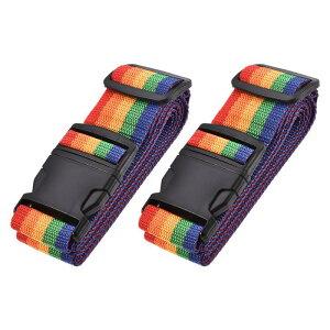 ソウテン スーツケースストラップ トラベルストラップ スーツケースストベルト バックルラベル付き 2Mx5 cm PP 調整可能 マルチカラー(レッド オレンジ イェロー グリーン ブルー) 2個入