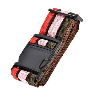 ソウテン スーツケースストラップ トラベルストラップ スーツケースストベルト バックルラベル付き 2Mx5 cm PP 調整可能 マルチカラー(レッド ピンク ダークグリーン)