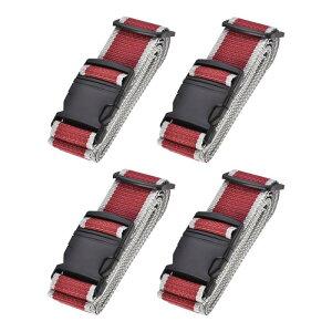 ソウテン スーツケースストラップ トラベルストラップ スーツケースストベルト バックルラベル付き 2Mx5 cm PP 調整可能 レッド グレー 4個入