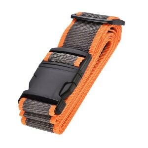 ソウテン ラゲッジベルト スーツケースストベルト トラベルストラップ バックルラベル付き 2Mx5 cm PP 調整可能 オレンジ グレー