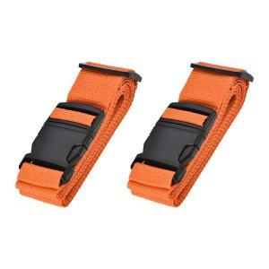 ソウテン ラゲッジベルト スーツケースストベルト トラベルストラップ バックルラベル付き 2Mx5 cm PP 調整可能 オレンジ 2個入