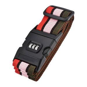ソウテン ラゲッジベルト スーツケースストラップ トラベルストラップ バックル付き コンビネーションロック 2Mx5 cm PP 調整可能 マルチカラー(レッド ピンク ダークグリーン)
