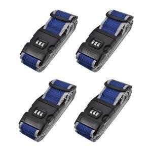 ソウテン ラゲッジベルト スーツケースストラップ トラベルストラップ バックル付き コンビネーションロック 2Mx5 cm PP 調整可能 ブルー グレー 4個入