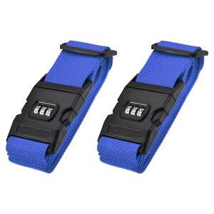 ソウテン ラゲッジストラップ ラゲッジベルト スーツケースストラップ バックル付き コンビネーションロック 2Mx5 cm PP 調整可能 ダークブルー 2個入