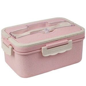 ソウテン 弁当箱 Bentoランチボックス 3つのコンパートメント ボックスコンテナ 電子レンジ 冷凍庫 食器洗い機 ミールボックス W調理器具 大容量1500ML ピンク