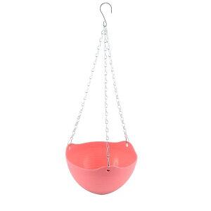 ソウテン 鉢 フラワーベース 花器 植木鉢 ピンク プラスチック製 吊り下げ式 植木鉢 チェーン付き 植物プランター バスケット 家 庭園の装飾