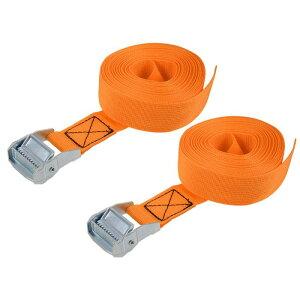 ソウテン ラッシングストラップ 荷物固定ロープ 荷締めベルト 荷締バンド 落下防止 貨物輸送 オレンジ 6M長さ 38mm幅 荷重500kg 貨物タイダウンストラップ 2個入り