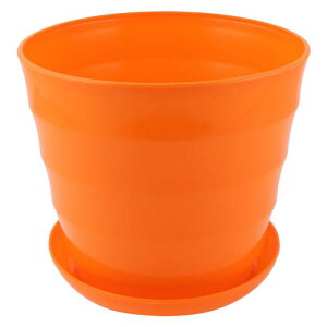 ソウテン 植木鉢?オレンジ ?丸型?プラスチック植物?プランター?ホルダーホーム?庭園?事務室?