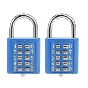 ソウテン コンビネーション南京錠 プッシュボタン ロッカーキャビネットロック ブルー 10桁、2個