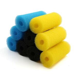 ソウテン フィルター用スポンジ 水槽用 濾過器 カートリッジ ブルー イエロー ブラック 長さ15cm 各3個入り