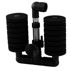 ソウテン 水槽用スポンジフィルター スポン ブラック シリンダー 二つのフィルター