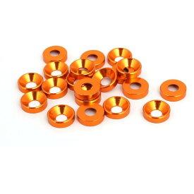 ソウテン uxcell フェンダーワッシャー M5 オレンジ アルミニウム合金 車 バンパートランク 20個入り