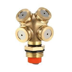 ソウテン ミストスプレーノズル 1 / 2BSPF真鍮 4穴フィッティング アダプタおよびフィルタメッシュ付き