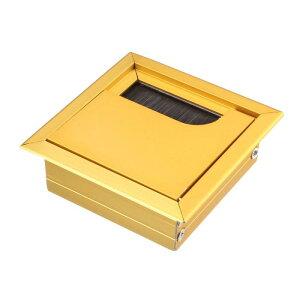 ソウテン ケーブル穴カバー ワイヤーオーガナイザー 電線ホルダー アルミ 69 mm x 69 mm ゴールドトーン