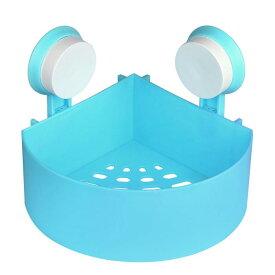 ソウテン uxcell シャワーバスケット 粘着 ウォールマウント プラスチック コーナー シャワー バスケット ラック ビン ストレージ オーガナイザー ブルー 1個入り