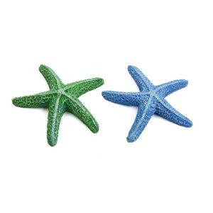 ソウテン 金魚鉢ヒトデ 水槽ヒトデデコール レジン製 デコレーション ブルー グリーン 2個入