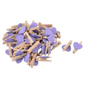 ソウテン ミニ木製クリップ 木材 金属材質 ユニークスタイリッシュ バインダーペーパークリップ フォトアルバムアクセサリー 50個入り