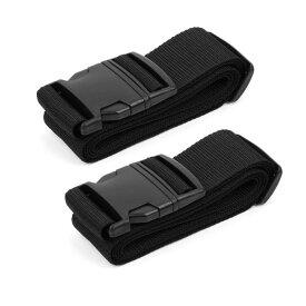 ソウテン uxcell スーツケースベルト 荷物バッグベルト 調節可能 バッグクロスベルト 旅行 荷物ベルト 荷物ストラップ 2M ブラック 2個入り 20日発送予定