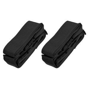ソウテン ラゲッジストラップスーツケースベルト 2つバックル付き 2 Mx5 cm クロスアジャスタブル PPトラベルパッキングアクセサリー ブラック 2個