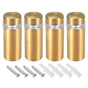 ソウテン ガラススタンドオフ ステンレス鋼製 ゴールド スタンドオフホルダー 広告ネイル 12mm径 32mm 長さ ゴールド スキュー 4 個入り