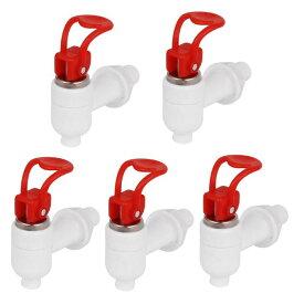 ソウテン uxcell ウォーターディスペンサータップ 16mm ネジ プッシュタイプ 飲料 プラスチック 蛇口 タップ レッド ホワイト 5個入り 20日発送予定