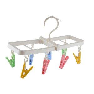 ソウテン ピンチハンガー 洗濯ハンガー 角ハンガー 下着 プラスチック 折り畳める クロスピン8個付き ブルー グリーン