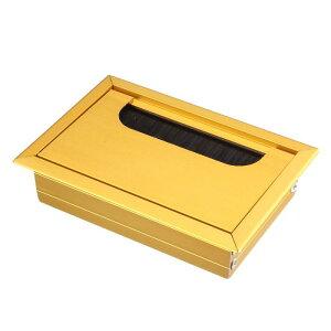 ソウテン ケーブル穴カバー ワイヤーオーガナイザー 電線ホルダー アルミ 108 mm x 69 mm ゴールドトーン
