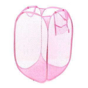 ソウテン ランドリーバスケット 折り畳み式 ハンパー メッシュストレージ 洗濯ランドリー バッグビン ポップアップ ピンク