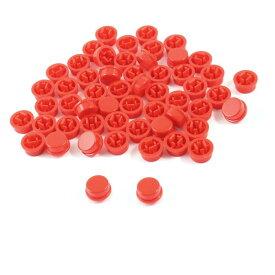 ソウテン uxcell スイッチキャップ プラスチック製 レッド 丸形 ボタンカバー 55個入り
