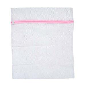 ソウテン 洗濯ネット 角型 洗濯バッグ ジッパー ホワイト ピンク 衣類保護具 58 x 48cm 1個入り