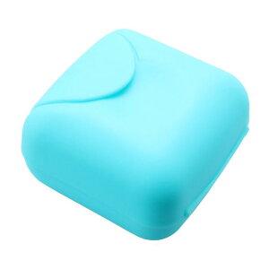 ソウテン 石鹸ホルダー 旅行 プラスチック製 正方形 シャワー 石鹸 ホルダー 容器 携帯式 ボックス ケース ブルー