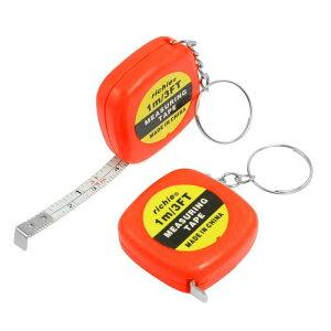 ソウテン ミニテープメジャー 巻き尺 プラスチック定規1m 測定工具 2個入り キーリング オレンジレッド
