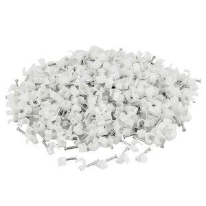 ソウテン 釘止めタイプ ケーブルステップル プラスチック製メタル製ホワイト クリップファスナー 壁の床板をマウント400 個入り